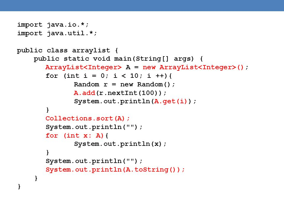 import java.io.*; import java.util.*; public class arraylist { public static void main(String[] args) {